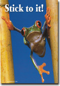 Stick To It! - Frog - Classroom Motivational Poster Print Gift