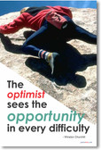 Optimist Sees Opportunity - Winston Churchill - Classroom Motivational Quote Poster Print Gift