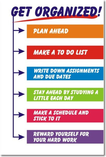 Get Organized! - Classroom Motivational Poster Print Gift