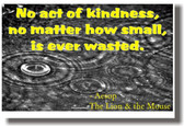 No Act of Kindness is Ever Wasted - Classroom Motivational Poster Print Gift