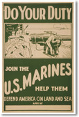 Do Your Duty - Join the US Marines  - NEW Vintage Poster