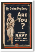 I'm Doing My Duty - Are You? Navy - NEW Vintage Reprint Poster