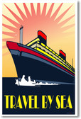 Travel by Sea - Vintage Reprint Poster
