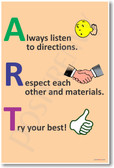 ART - Always Listen, Respect, Try - NEW Classroom Behavior Motivational PosterEnvy Poster