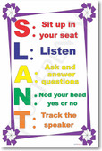 S.L.A.N.T 2 - Sit Up, Listen, Ask, Nod, Track - NEW Classroom Management PosterEnvy Poster