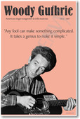 Woody Guthrie Musician Singer-Songwriter Educational Poster
