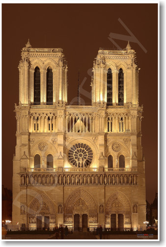 Notre Dame Cathedral Paris France NEW World Travel Poster PosterEnvy Architecture French Church