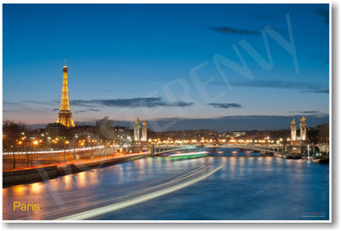 Paris France French River Seine Eiffel Tower at Night NEW World Travel Poster PosterEnvy (tr474)