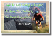 Bike Bicyclist - Life Is Like Riding a Bicycle To Keep Your Balance You Must Keep Moving - Albert Einstein Quote - NEW Classroom Motivational Poster