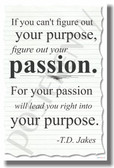 If You Can't Figure Out Your Purpose Figure Out Your Passion - T.D. Jakes - NEW Classroom Motivational PosterEnvy Poster