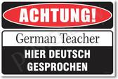Warning German Teacher Poster Print Gift