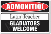 Warning Latin Teacher 2 Poster Print Gift