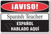 Warning Spanish Teacher Poster Print Gift