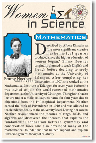 Emmy Noether - Famous Women Poster Print Gift