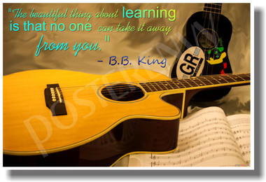 Acoustic Guitar - The Beautiful Thing About Learning Is That No One Can Take It Away From You - B.B. King - NEW Classroom Motivational PosterEnvy Poster