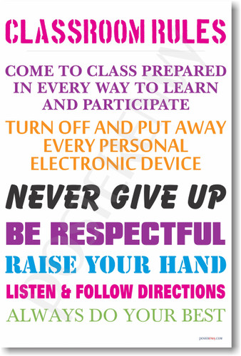 School Classroom Rules #13 - NEW Classroom Motivational PosterEnvy Poster