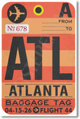 ATL - Atlanta Airport Tag - NEW World Travel Poster Print Gift