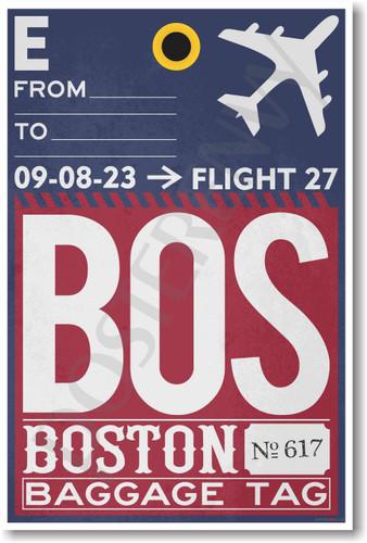 BOS - Boston Airport Tag - Travel Poster Print Gift