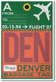 DEN - Denver Airport Tag - NEW World Travel Poster Print Gift