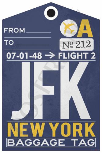 JFK - NYC Airport Baggage Tag - Poster Print Gift
