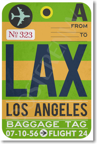 LAX - Los Angeles Airport Tag - Travel Poster Print Gift
