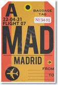 MAD - Madrid Airport Tag - Travel Poster Print Gift