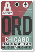ORD - Chicago Airport Tag - Travel Poster Print Gift