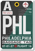 PHL - Philadelphia Airport Tag - Travel Poster Print Gift
