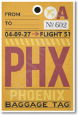 PHX - Phoenix Airport Tag - Travel Poster Print Gift