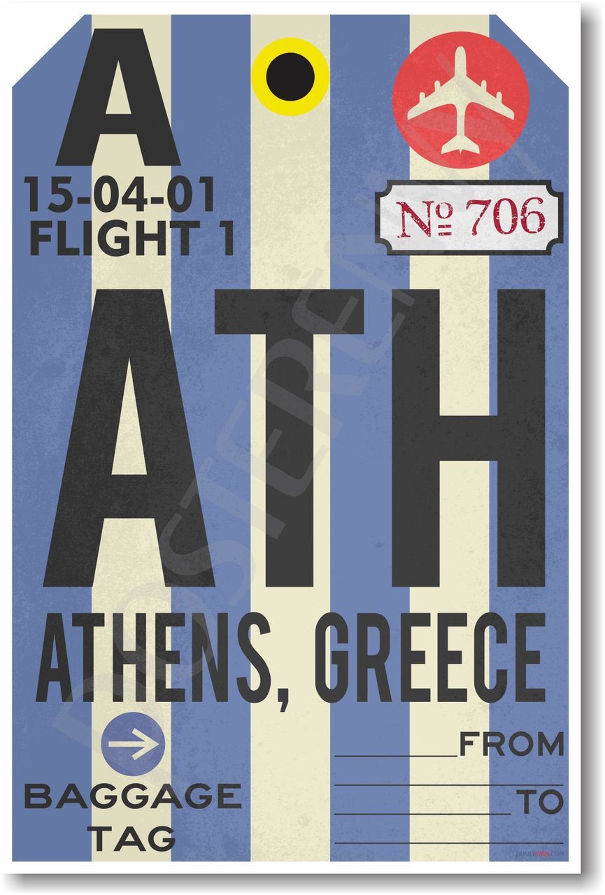 ATH - Athens, Greece Airport Tag - NEW World Travel Poster