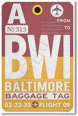 BWI - Baltimore - Airport Tag - NEW World Travel Poster (tr493)