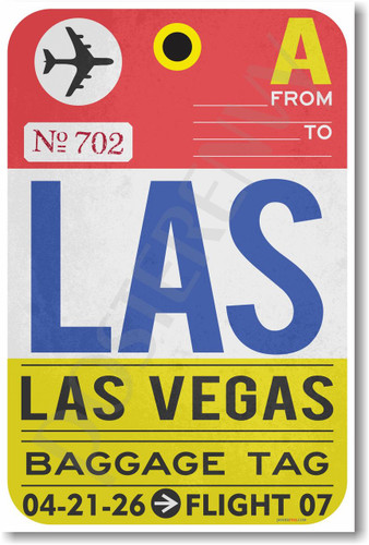 LAS - Las Vegas - Airport Tag - NEW World Travel Poster