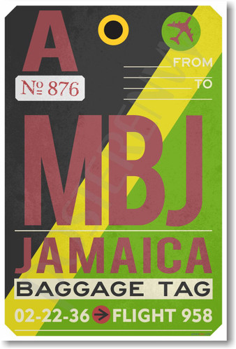 MBJ - Jamaica - Airport Tag - NEW World Travel Poster (tr502)