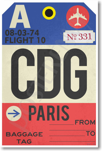 CDG - Paris - Airport Tag - NEW World Travel Poster (tr509)