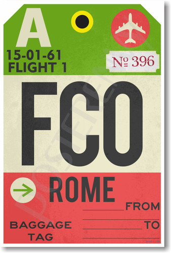 FCO - Rome - Airport Tag - NEW World Travel Poster (tr511)