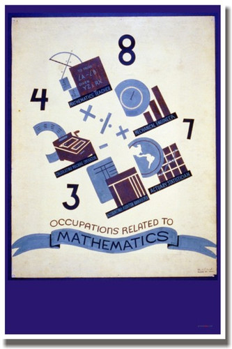 Numbers Mathematics Occupations Vintage WPA Art Reproduction Poster