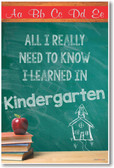 Schoolhouse Chalkboard - All I Really Need To Know I Learned In Kindergarten - NEW Classroom Motivational PosterEnvy Poster
