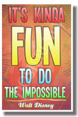It's Kinda Fun Doing The Impossible - Walt Disney - NEW Classroom Motivational PosterEnvy Poster