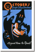 October's Bright Blue Weather - A Good Time To Read Scary Ghost, Witch, Mansion, Bat & Detective Halloween Holiday PosterEnvy Vintage Poster
