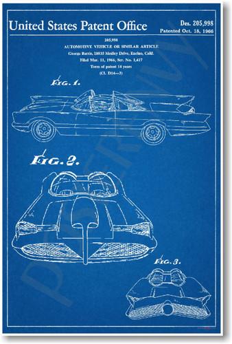 Batmobile Patent - NEW Famous Invention Blueprint Batman and Robin Superheroes Poster (fa115)