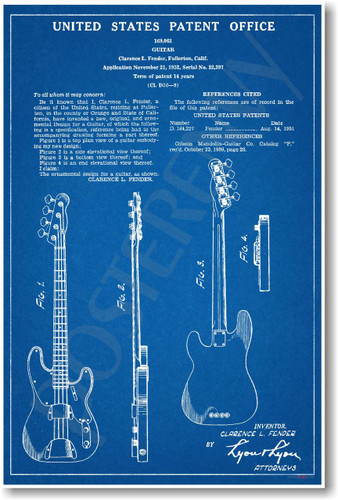 Fender Electric Bass Patent - NEW Famous Invention Blueprint PosterEnvy Music Poster (fa117)