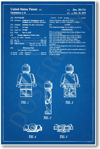 Lego Figure Patent - NEW Famous Invention Blueprint Patent Poster (fa121)