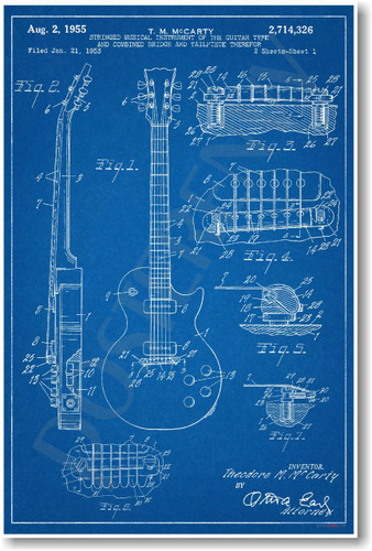 Gibson Les Paul Guitar Patent - NEW Famous Invention Blueprint PosterEnvy Poster (fa122)