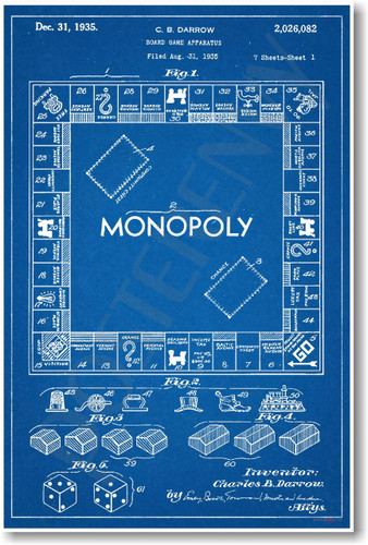 Monopoly - NEW Famous Invention Patent Blueprint PosterEnvy Poster (fa123)