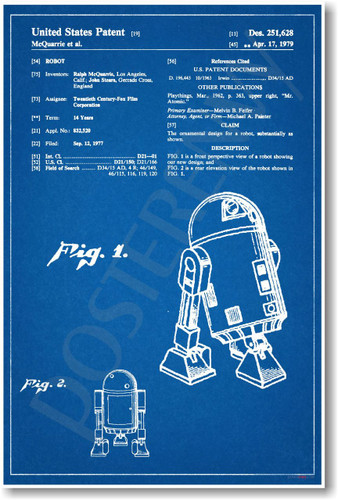 R2D2 Patent - NEW Famous Invention Patent Poster (fa125)