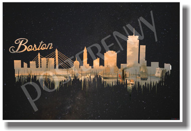 Boston - Dark - NEW U.S State Travel Poster (tr514)