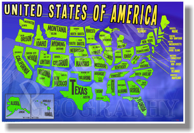 Map of the United States of America - NEW American Geography Poster (ss155)