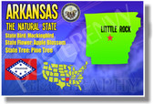 Arkansas Geography - NEW U.S. States Social Studies Travel Classroom PosterEnvy Poster (tr521)