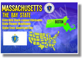 Massachusetts Geography - NEW U.S Travel Poster