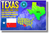 Texas Geography - NEW U.S Travel Poster (tr550)